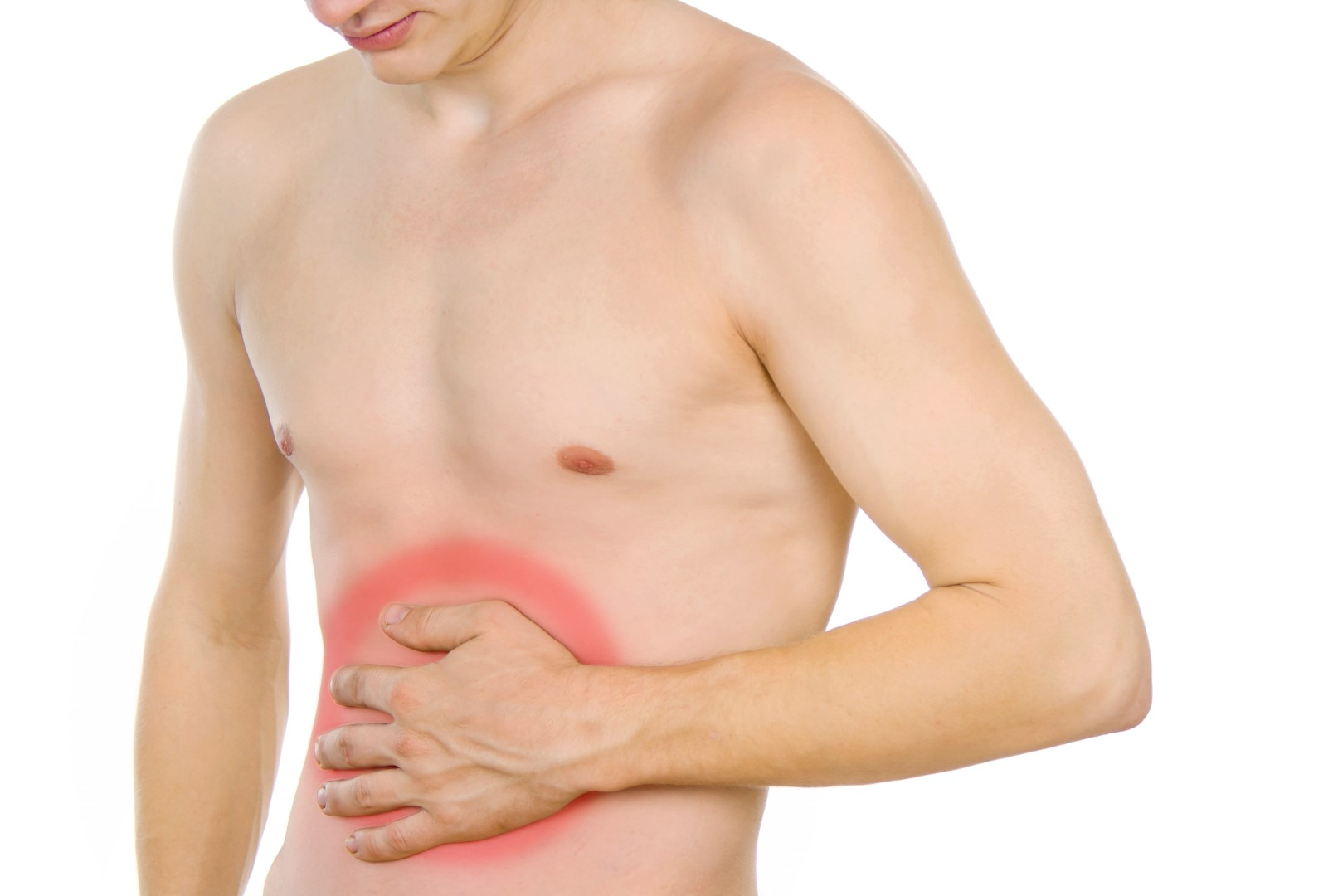 male torso, pain in the abdomen due to digestive disorders